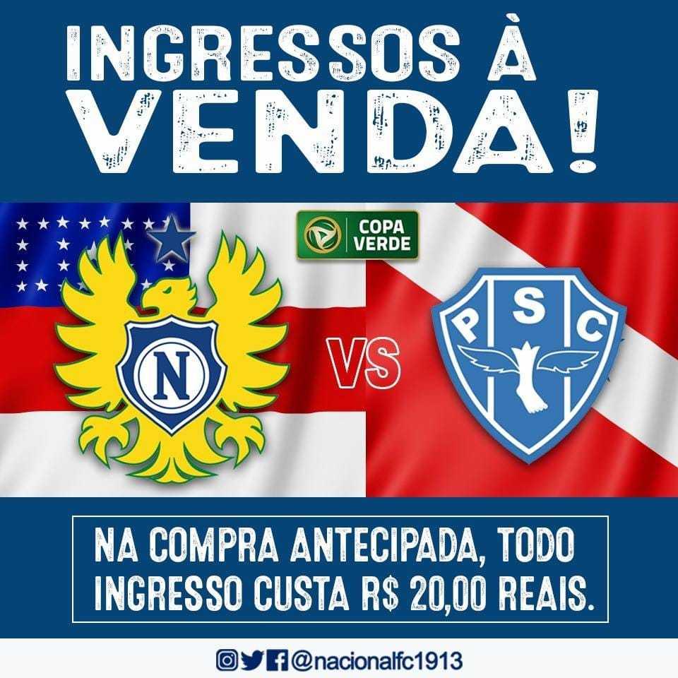 Ingressos a venda para Nacional x Paysandu, partida válida pela Copa Verde já estão a venda