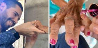 Um médico vai à casa de uma humilde paciente octagenária para cozinhar e pintar suas unhas