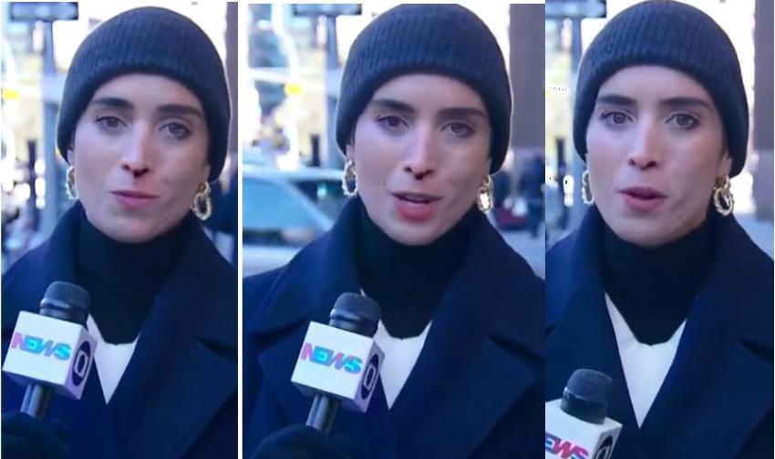 A jornalista correspondente internacional Candice Carvalho da Globo News sangrou durante reportagem ao vivo e Maria Beltrão teve que tomar medidas drásticas (Foto: Reprodução)