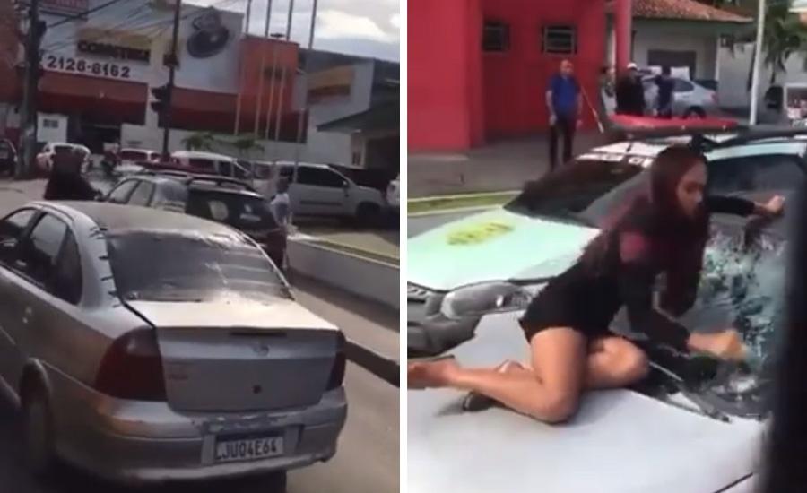 Mulher revoltada destrói para brisa do carro do marido em frente ao DIP na Zona Leste