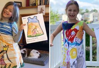 Loja de roupas transforma desenhos de crianças em peças de roupas super coloridas