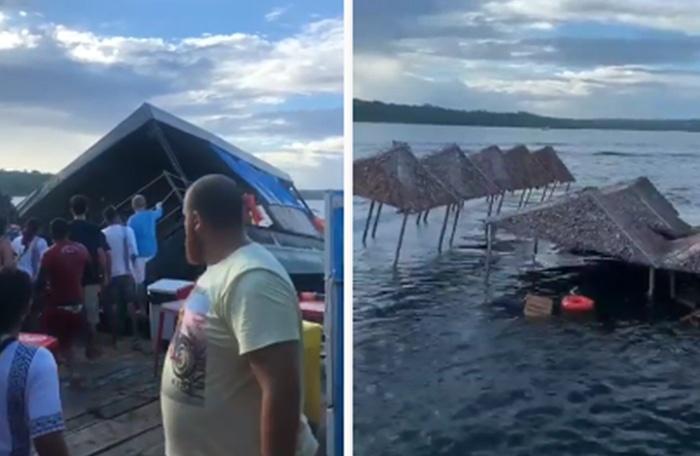 Parte do flutuante abaré afundou na tarde de hoje. A parte afetada era uma espécie de lounge flutuante, com cabanas oferecidas aos clientes.