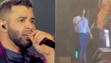 Gusttavo Lima havia bebido demais e subiu no palco fazendo declarações pra lá de picantes (Foto montagem TV Foco)