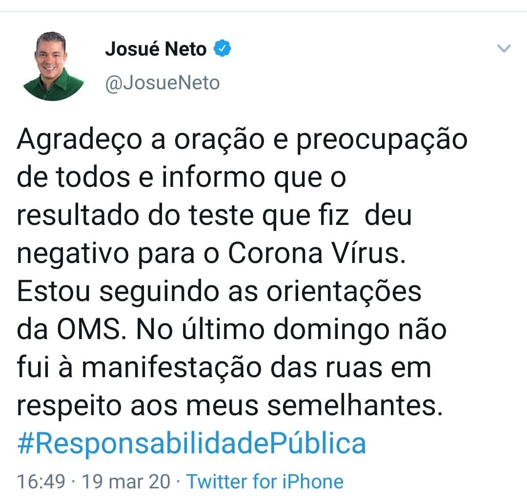 Presidente da Assembleia Josué Neto deu negativo para corona