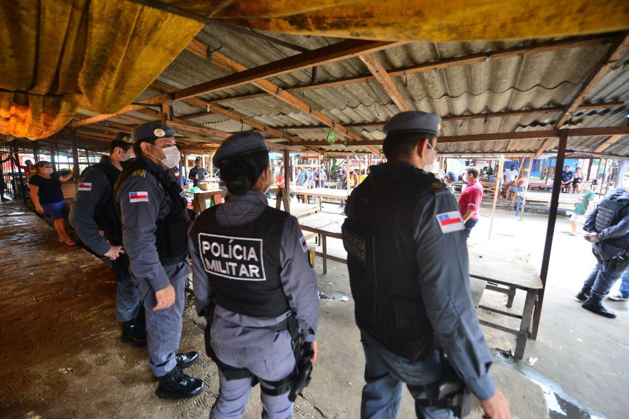 Operação 'Fique em Casa' em pontos comerciais de Manaus / Foto : Michell Mello/Secom