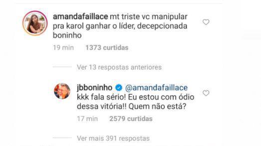 Boninho responde internauta sobre manipulação em prova do BBB21. Reprodução: Instagram