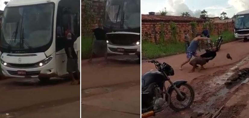 Vídeo: Homem tenta bater em motorista de ônibus, mas aparece um mais doido que ele e o nocauteia; Veja o vídeo